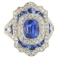 Authentic Art Deco No Heat Sapphire Diamond Platinum Ring, G.I.A. Cert.