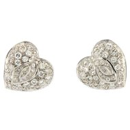 Vintage 6.00ct Diamond Heart Earrings