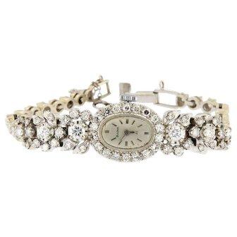 Vintage  3 ct Diamonds 14kt Gold Bulova Watch
