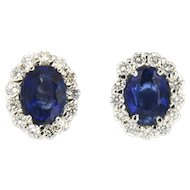 Vintage 18K Diana Oval Sapphire and Diamond Earrings