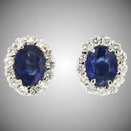 Vintage 18K Diana Oval Sapphire and Diamond Earrings