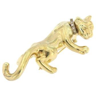 Unique Vintage 14k Reflective Panther Brooch