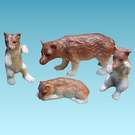 Antique German Miniatur Bisquit Porcelan  Bears about 1900