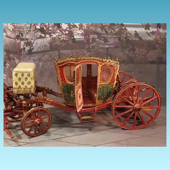 French antique miniatur Luxurious Carriage for mignonettes