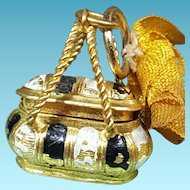 Rar french miniature doll-bag ormolu and enamel  for mignonettes