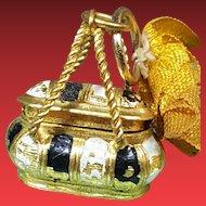 Rar french miniature doll-bag ormolu and enamel  for mignonettes