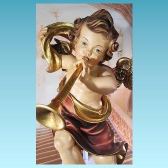 Great Carved wood Angel in Baroque style germany grödnertal ca.1950