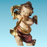 Great Carved wood Angel in Baroque style germany grödnertal ca.1950