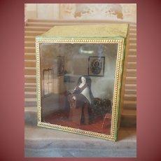 Rar early grödnertal wooden doll in tiny House showcase 1860