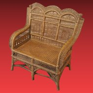 All original antique hand-woven bench masterpiece