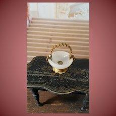 Rar tiny opalin glass ormolu bowl