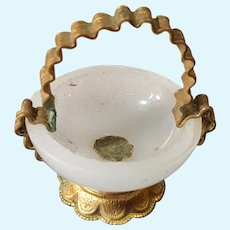 Rar tiny opalin glass ormolu bowl