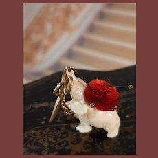 Very rare to find miniature pincushion wiht scissors