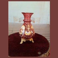 French red tiny glass vase whit enamel