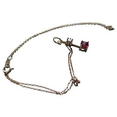 10 k Gold/Ruby/Diamond Necklace