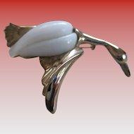 White Milk Glass/Goldtone Duck Brooch