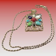925 Silver Multi Colored Stone Necklace