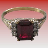 925 Sterling Silver/Simulated Ruby Ring