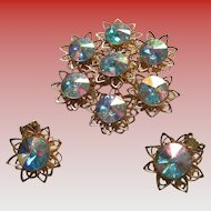Collectible AB Snowflake Brooch and Clip On Earrings