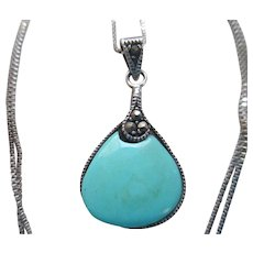 Silver 925 Marcasite/Turquoise (reconstituted) Necklace