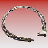 925 Silver/Vermeil Braided Mesh Bracelet