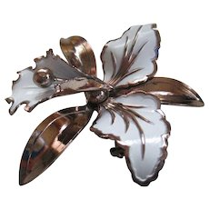 White Enamel on Copper Iris Brooch