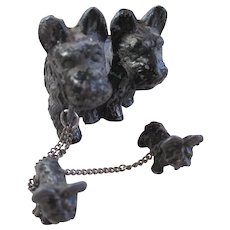 Miniture Spelter Metal Scottie Dog Family