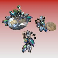 Aurora Borealis Large Brooch/Clip on Earrings