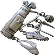 JJ Jewelry Golf Bag and Clubs Brooch
