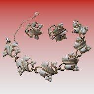 Coro Lucite/Enamel/Goldtone Bracelet and Clip Earrings