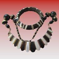Vintage Safari Style Brass Necklace and Bracelet