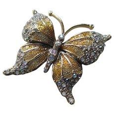 "Vintage LC ""LIZ Claiborne""  Gold tone/Rhine stone Butterfly Brooch"