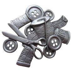Spoon Pewter Sewing Kit Brooch