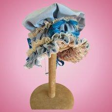 Doll Bonnet Vintage Blue Satin/Lace/Velvet