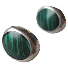 Malachite 925 Sterling Silver Post Earrings