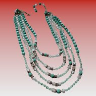 1960s Waterfall Glass Bead Necklace