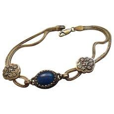 925 Sterling Silver Lapis Mesh Bracelet