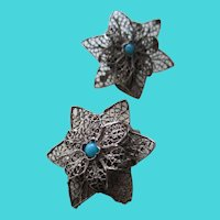 Silver 800 Hand Crafted Filigree Flower Clip Earrings