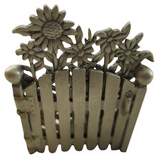 Vintage Pewter Moveable Gate/Flower Brooch