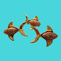 Copper  Set of 3 Scatter Fish Pins