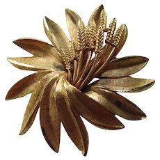 Vintage Coro Textured Flower Brooch