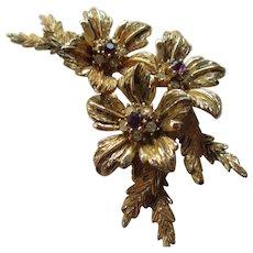 Vintage C-Clasp 1900 Flower Brooch