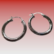10 Kt White Gold Hoop Earrings