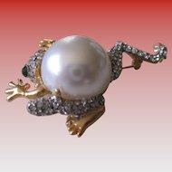 Vintage Frog Rhinestone/Faux Pearl