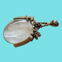 Vintage Faux Pearl/Rhinestone Sewing Magnifier Glass