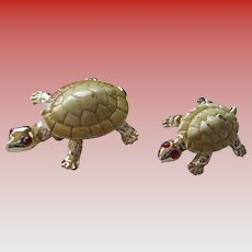 Duet Pair of Turtle and Baby Pins