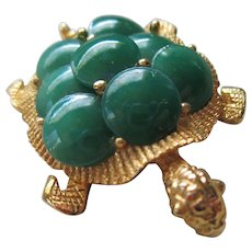 Vintage Green Glass Turtle Brooch