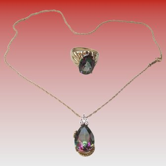 Mystic Topaz/10kt YG/14K Necklace and Ring