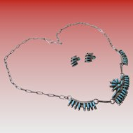 Turquoise Needle Point Necklace/Post Earrings (Zuni)