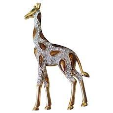 Vintage Giraffe Rhinestone Brooch